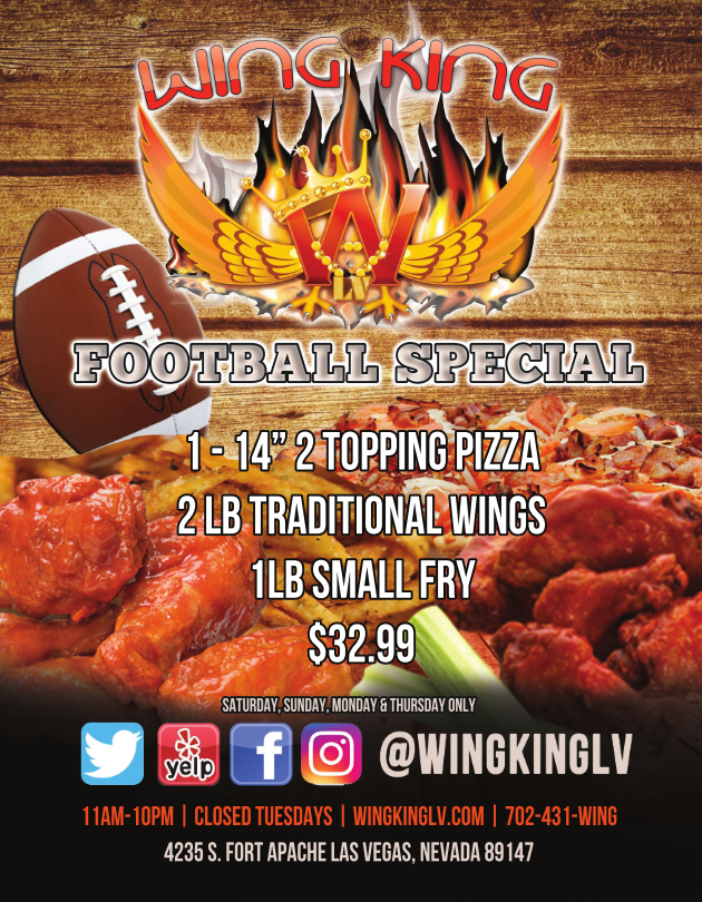 Football Specials from Wing King of Las Vegas