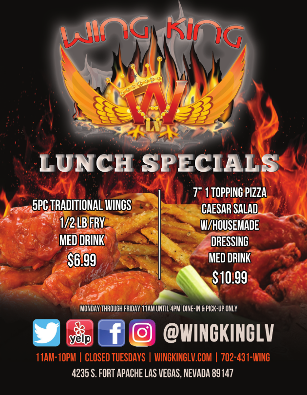 Lunch Specials from Wing King of Las Vegas